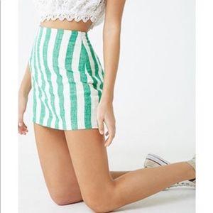 Forever 21 linen-blend striped skirt M NWT